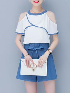 White and Blue Slim Linking Off-Shoulder Wide-Leg Two-Piece Shorts Jumpsuit for Casual Party