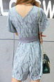 Haze Blue Slim Lace Band Siamese V Neck Shorts Jumpsuit for Casual Party