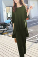 Army Green Loose Pure Color Two-Piece Pants Jumpsuit for Casual Party