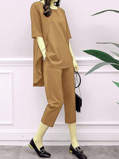 Dark Khaki Loose Pure Color Two-Piece Pants Jumpsuit for Casual Party