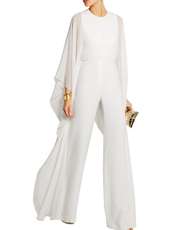 9b8422a47c2 White Slim High Waist Wide-Leg Siamese Long Sleeve Plus Size Jumpsuit for Party  Evening
