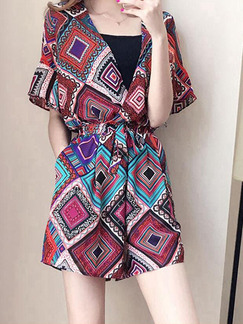 Colorful Loose Printed Wide-Leg Siamese Jumpsuit for Casual Party