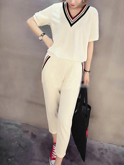 White Loose Linking Stripe Two Piece Pants V Neck Jumpsuit for Casual Party Sporty