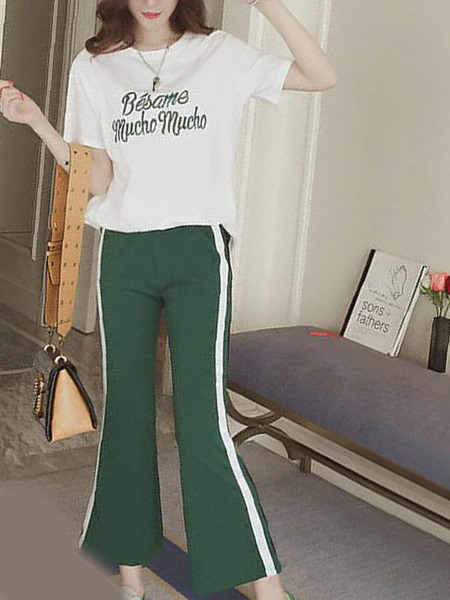 White and Army Green Loose Linking Letter Side Stripe Two Piece Pants Plus Size Jumpsuit for Casual Sporty
