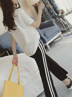 White and Black Loose Linking Letter Side Stripe Two Piece Pants Jumpsuit for Casual Sporty