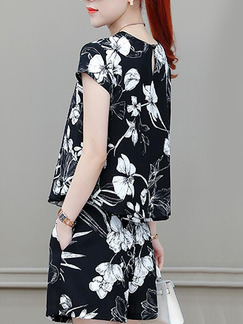 Black and White Slim Printed Wide-Leg Two Piece Shorts Floral Plus Size Jumpsuit for Casual Party