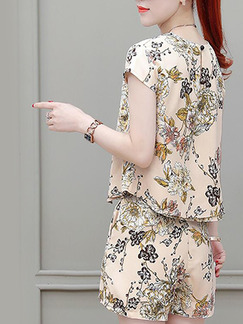 Colorful Slim Printed Wide-Leg Two Piece Shorts Floral Plus Size Jumpsuit for Casual Party