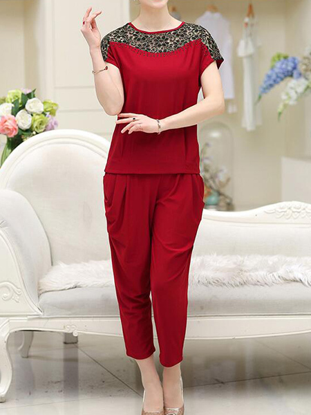 Wine Red Loose Cutout Linking Harlen Two Piece Pants Plus Size Jumpsuit for Casual Party Evening