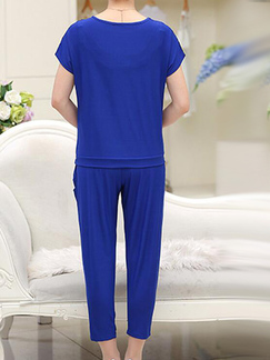 Royal Blue  Loose Cutout Linking Harlen Two Piece Pants Plus Size Jumpsuit for Casual Party Evening