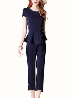 601ec5f0eded Dark Blue Slim Plus Size Bead Buckled Nine pants Zipped Furcal Pocket Two  Piece Pants Jumpsuit