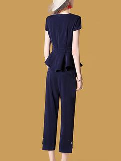 f63a03245015 ... Dark Blue Slim Plus Size Bead Buckled Nine pants Zipped Furcal Pocket  Two Piece Pants Jumpsuit
