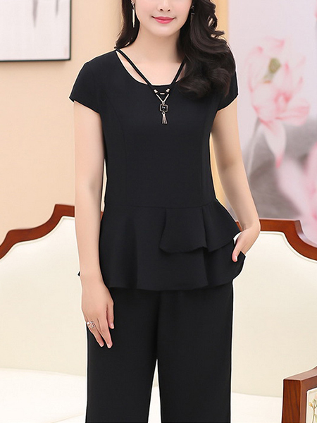 Black Plus Size Slim Ruffled Round Neck Hang Neck Adornment High Waist Pants Wide Leg Two Piece Jumpsuit for Casual Party Office
