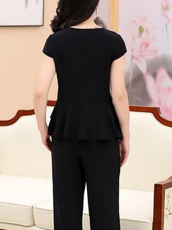 3ca15eb965c3 ... Black Plus Size Slim Ruffled Round Neck Hang Neck Adornment High Waist  Pants Wide Leg Two
