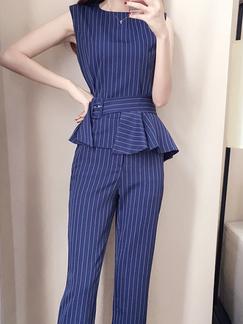 640c70987919 Navy Blue and White Slim Stripe Plus Size Band Belt Linking Zipped Nine  Pants Jumpsuit for