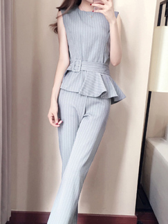 ababd2656eef Grey and White Slim Stripe Plus Size Band Belt Linking Zipped Nine Pants  Jumpsuit for Casual