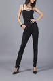 Black Slim Sling Strapless Linking Pants Slip Jumpsuit for Casual Party Evening Semi Formal