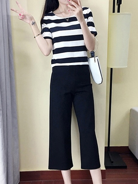 Black and White Two-Piece Plus Size Slim Contrast Stripe Round Neck Wide-Leg Pockets Pants Jumpsuit for Casual