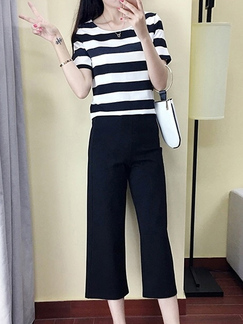 c550514a1f4 Black and White Two-Piece Plus Size Slim Contrast Stripe Round Neck Wide-Leg