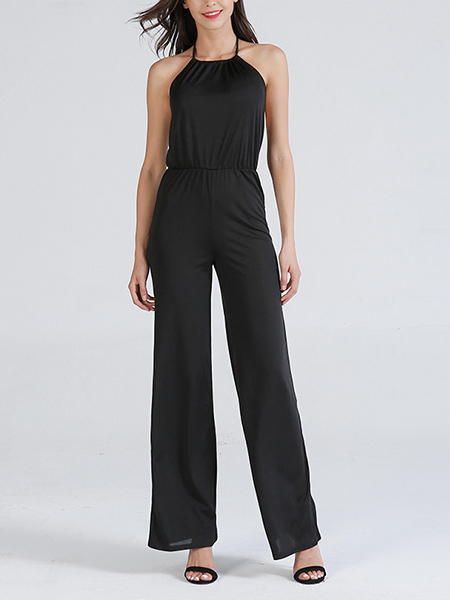 Black Slim Hang neck Sling Open Back Jumpsuit for Casual Party Evening Semi Formal