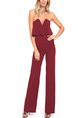 Wine Red Plus Size Slim V Neck Strapless Off-Shoulder Open Back Ruffled Pants Jumpsuit for Party Evening Cocktail
