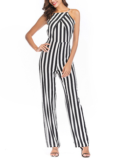 f8bac6ad1923 Black and White Plus Size Slim Strapless Open Back Stripe Linking Pants  Jumpsuit for Party Evening ...