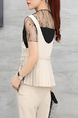 Beige Slim Pleated Sling Mesh Nine Pants Pocket Three Piece Jumpsuit for Casual Party Office Evening