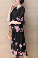 Black and Pink Plus Size Loose Wide Leg Chiffon Printed Ruffled Furcal Two Piece Shorts Jumpsuit for Casual