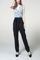 Blue and Black Jumpsuit Slim Zipped Pocket Placket Front Printed Band Belt Jumpsuit for Casual Party Office