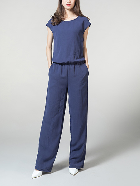 Blue Plus Size Jumpsuit Zipped Adjustable Waist Pocket Jumpsuit for Casual Party Sporty