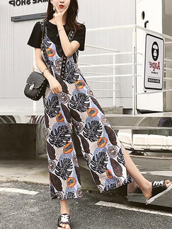 Black and Colorful Jumpsuit T Shirt Sling Buckled Printed Wide leg Furcal Pocket Two Piece Floral Jumpsuit for Casual Party