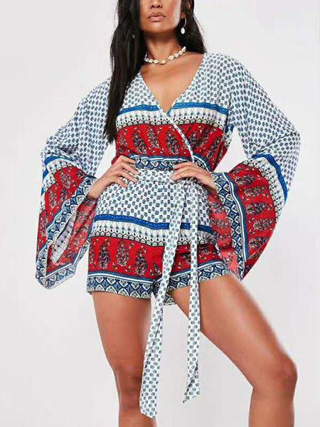 White and Colorful Plus Size Loose Jumpsuit V Neck Band Belt Wave point Printed Flare Sleeve Jumpsuit for Casual Party Beach