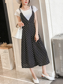 Black and White Slim Sling Strap Wave point Adjustable Waist Wide leg Pocket Two Piece Jumpsuit for Casual Party