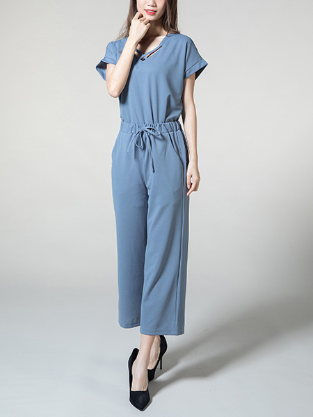 Blue Loose V Neck Cutout Adjustable Waist Pocket Two Piece Jumpsuit for Casual Party Office