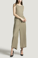 Olive Green Plus Size Loose Round Neck Open Back Linking Wide Leg Pants Jumpsuit for Casual Party Evening