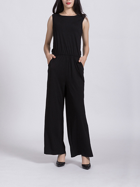 Black Two Piece Round Neck Pants Jumpsuit for Casual Party Office