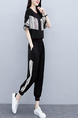Black and White Two Piece Pants Plus Size Jumpsuit for Casual Sports