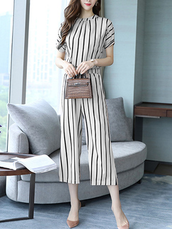 White and Black Two Piece Pants Round Neck Plus Size Jumpsuit for Casual Party Evening Office