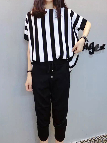 Black and White Two Piece Pants Plus Size Striped Jumpsuit for Casual Sports Party