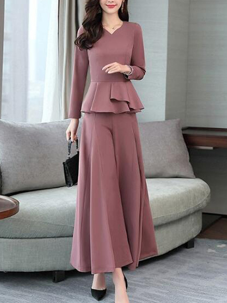 Pink Two Piece Wide Leg Pants Plus Size Long Sleeves Jumpsuit for Party Evening Cocktail Office