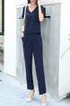 Blue V Neck Pants Jumpsuit for Casual Party Office