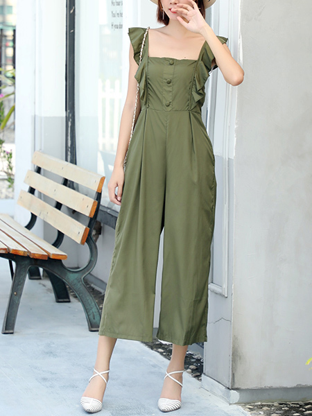Green Wide Leg Pants Jumpsuit for Casual Party Evening