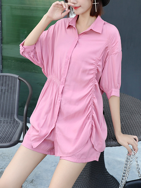 Pink Two Piece Collared Button Down Shirt Plus Size Jumpsuit for Casual Party