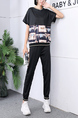 Black Colorful Two Piece Pants Plus Size Shirt Jumpsuit for Casual Sports