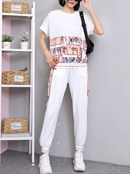 White Colorful Two Piece Pants Plus Size Shirt Jumpsuit for Casual Sports