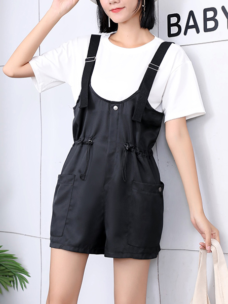 Black and White Two Piece Plus Size Romper Jumpsuit for Casual Party