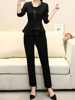 Black Plus Size Two-Piece Slim Ruffled Round Neck Hang Neck Adornment High Waist Long Sleeve Jumpsuit for Casual Office