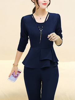 Blue Plus Size Two-Piece Slim Ruffled Round Neck Hang Neck Adornment High Waist Long Sleeve Jumpsuit for Casual Office