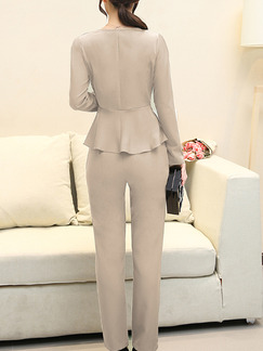 Grey Plus Size Two-Piece Slim Ruffled Round Neck Hang Neck Adornment High Waist Long Sleeve Jumpsuit for Casual Office