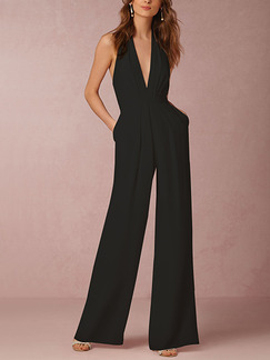 Black Slim Hang Neck V Neck Open Back Siamese Wide Leg Jumpsuit for Cocktail Party Evening