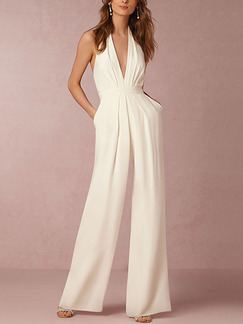 White Slim Hang Neck V Neck Open Back Siamese Wide Leg  Jumpsuit for Cocktail Party Evening